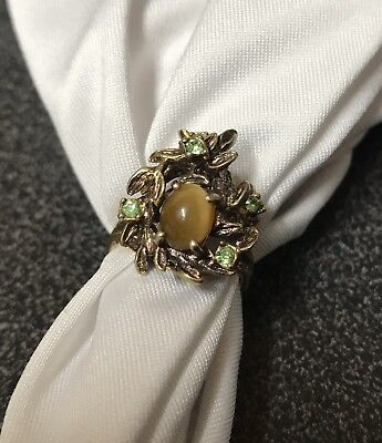 Vintage 14K HGE Cocktail Ring. Tiger Eye And Green Gemstones.