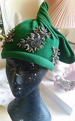 vintage hat emerald green felt with beads