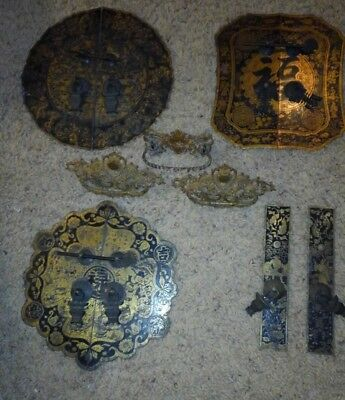 4 Large Antique Brass engraved Chinese Cabinet face plates gold ornate handles