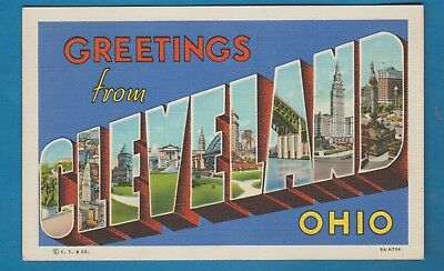 Greetings from Cleveland, Oh/ large letters/ different scenes/ linen postcard