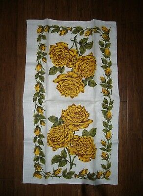 "Vintage YELLOW ROSES LINEN TEA/DISH TOWEL, New Old Stock, Unused, 16.5"" x 28.5"""