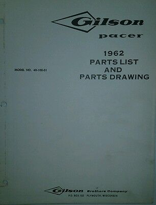 Gilson Pacer Lawn Garden Tractor 1962 Parts gilson lawn tractor service & parts manual 42pg riding mower 52037