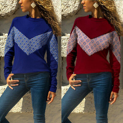 Women Geometric Color Block Long Sleeve Round Neck T-Shirt Casual Top Newly