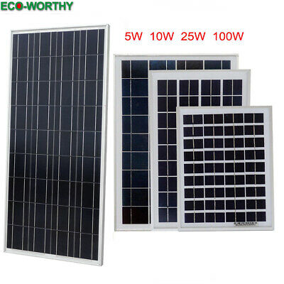 100W 25W 10W 5W Solar Panel 12V Portable Battery Charge Camping RV Boat Home US