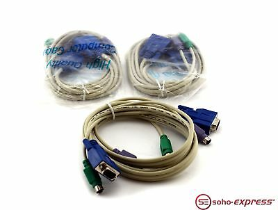 Unbranded Ps/2 Vga Male To Male Kvm Cable Vw-1 - Lot Of 3X