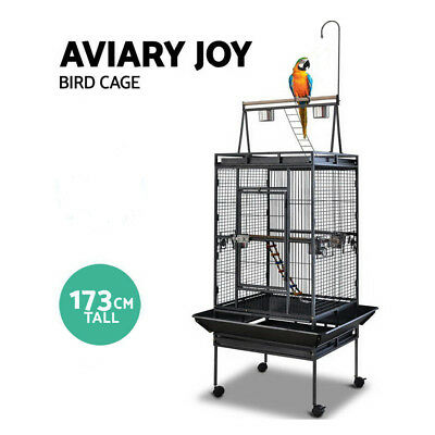 New Bird Cage Parrot Aviary Pet Stand-alone Budgie Perch Wheels Castor Large