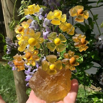 Crystal Craft Daisy Tree Yellow & Caramel Flowers Collectable Vintage Resin