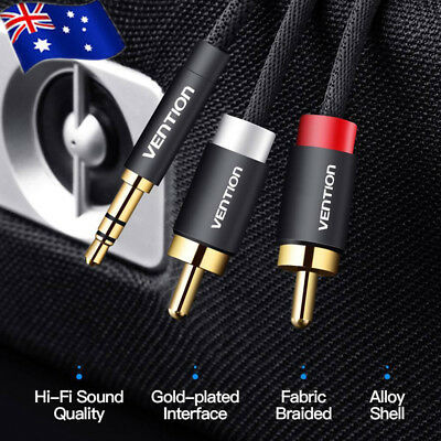 RCA Cable 2RCA to 3.5mm Jack Male to Male Audio Cable for Amplifier Phone