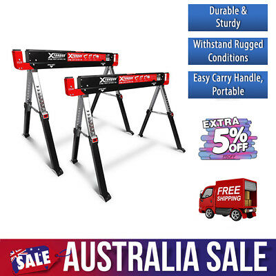 Work Bench Saw Horse Stand. Foldable Steel Table Workshop / Garage. Xtorque X700