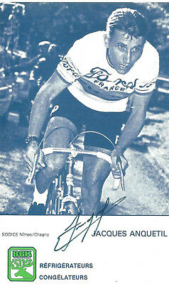 JACQUES ANQUETIL, Original Hand-Signed Cycling Autograph, Card 9,5x16cm