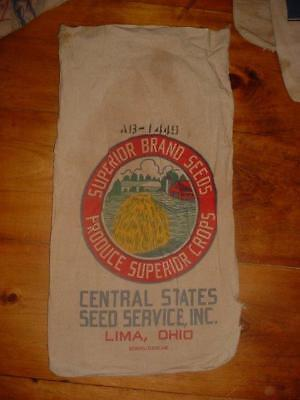 Vintage 1950 Canvas Superior Brand Seed Lima Ohio Feed Sack  W/ Tag