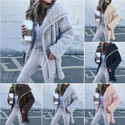 Womens Fashion Long Sleeve Hoodie Fuzzy Loose Solid Cardigan Sweater Hooded Coat