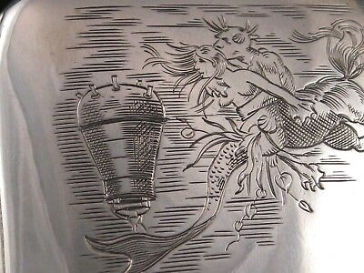 Wow Antique Silver Cigarette Case Mermaid Nautical Naval Art German Deco Nouveau