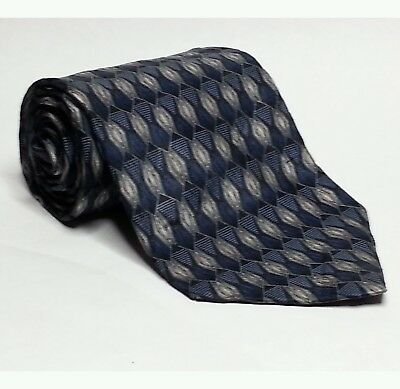 "Stafford Men Silk Dress Tie Blue with Geometric Pattern 3.75"" wide 57"" long USA"