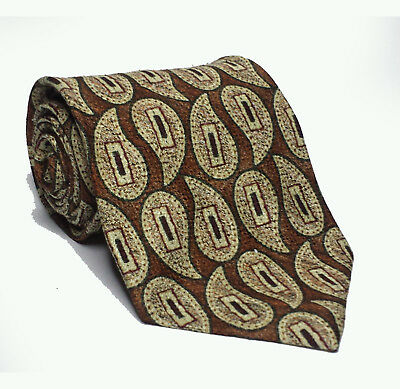"MARK PENDLETON Men Silk Tie  Brown 3-3/4"" wide 57"" long paisley pattern ITALY"