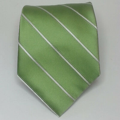 "MERONA Men Dress Green Neck Silk Tie 3.75"" wide 60"" Long with White Stripes"