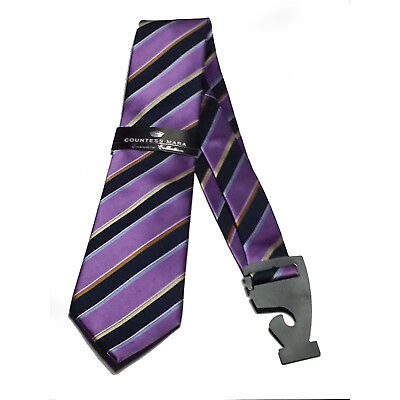 "Countess Mara Men Silk Dress Tie Purple with Black Stirpes 3.5"" wide"