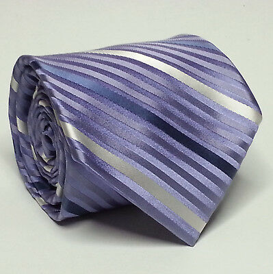 "CITY OF LONDON Men Dress Silk Tie Purple Stripes 3.75"" Wide 60"" Long NWT"