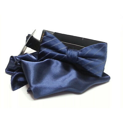 Countess Mara Men Dress Bow Tie with Pocket Square Set Navy Blue NWT