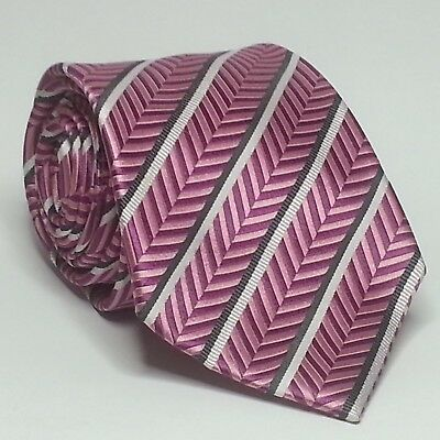 "Countess Mara Men Silk Dress Tie Pink with White Stripes 4"" wide"