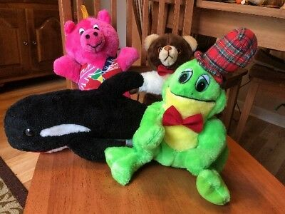 Stuffed Animals Plush Teddy Bear, Pink Pig, Whale, & Frog - LOT OF 4