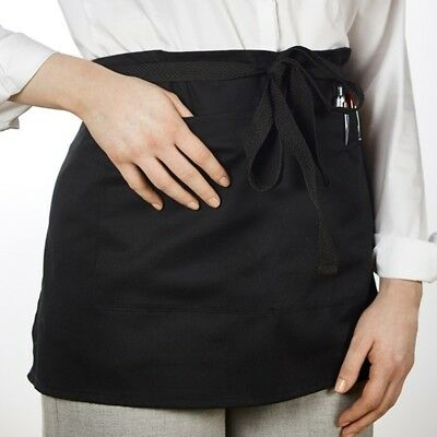 Black Short Pocket Apron With Waist Ties