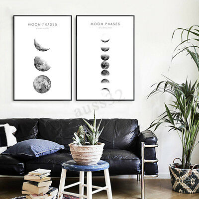 New Modern Abstract Moon Phases Canvas Print Painting Picture Wall Hanging Decor