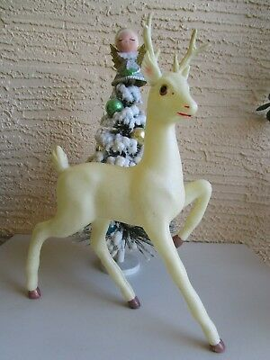 Vintage Lrg White Celluloid Prancing Reindeer Brown Hoofs Xmas Decoration 12""