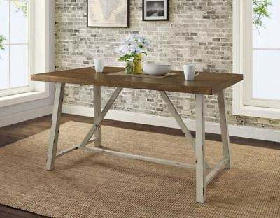 best authentic 24925 d1891 RUSTIC FARMHOUSE DINING Table Industrial Wood Metal Kitchen Walnut Top White
