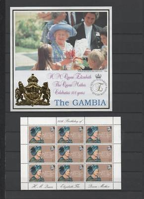 Gambia Qe2 Royalty 7 Mini Sheets On 2 Pages