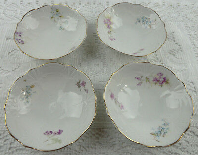 Vintage 4 Piece Porcelain Butter Pat Set Weimar Germany Floral with Gold Trim
