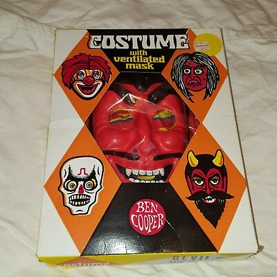 Vintage Devil Mask & Costume Halloween NEW in BOX Emacuate Condition