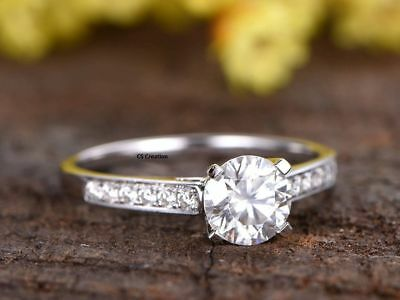 Certified 2Ct White Round Diamond Solitaire Ring Engagement Ring 14K White Gold