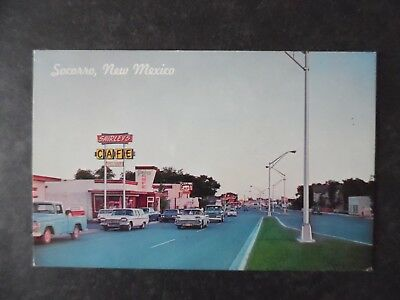 1960s Socorro New Mexico Street Scene Cars & Shirley's Cafe Postcard