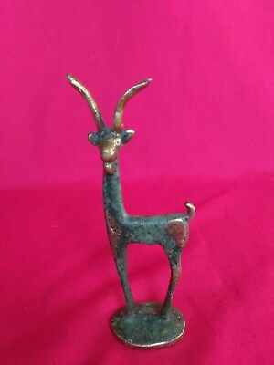Antique Vintage Brass Impala Antelope Statuette Solid Brass poss African crude