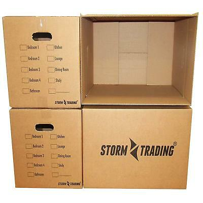 NEW 15 X LARGE PRINTED DOUBLE WALL Cardboard House Moving Boxes with handles