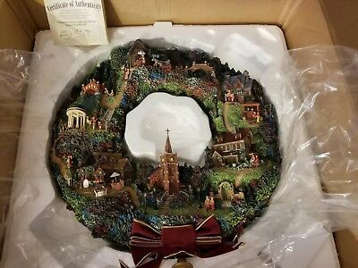 RARE Thomas Kinkade Lamplight Village Illuminated Wreath