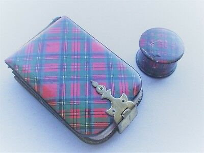 Antique 19th century Tartan ware note book and box   - Treen Mauchline