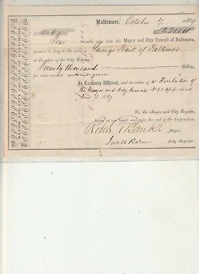 1869 payment voucher signed by Baltimore mayor Robert T. Banks for $20,000.00