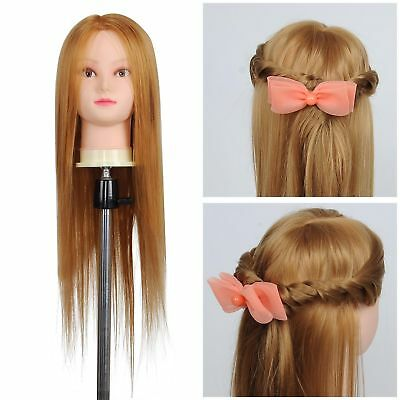 """26"""" Synthetic Cosmetology Mannequin Manikin Train Head w Human Hair Clamp Holder"""
