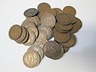 Lot of 55 1916 Canada Large Canadian Cent Coins