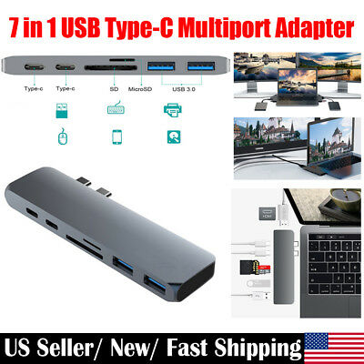 2018 New 7 in 1 Type C Hub Combo Adapter USB-C 3.1 to 4K HDMI PD VGA Dual USB