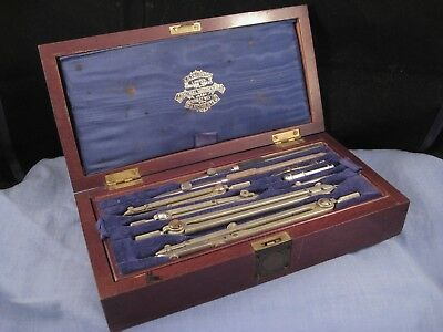Thornton Antique Boxed Mathematics Drawing Instruments Military Compass Set