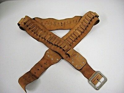 Civil War Reenactment Belt Brown Suede Leather Ammunition Cartridge Shell Belt