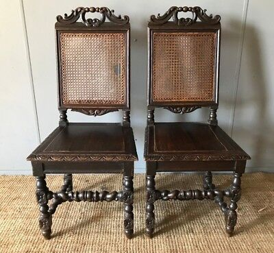 NO RESERVE 2 x Antique French Dining Chairs 19th C. Gothic Hand Carved Oak Frame