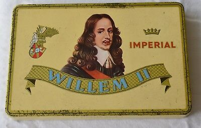 Antique Imperial Willem II Cigar Tin Holland with Cigar Wrappers