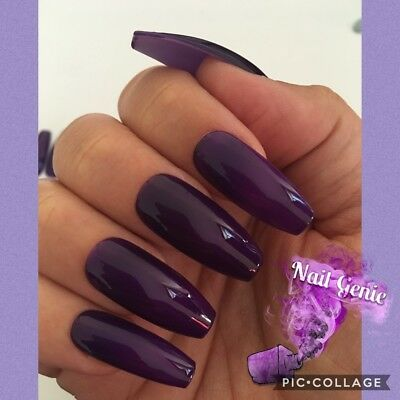 *NEW Quality hand painted DARK PURPLE press on/false nails COFFIN UK SELLER*
