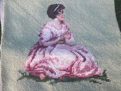 Vintage Tapestry Embroidered  Picture Hand Stitch Victorian Lady Cushion Front