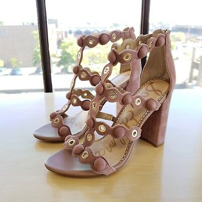 e39d898f5ac0 SAM EDELMAN WOMENS Yuli Suede Strappy Ankle Heels Sandals Size 7 M ...