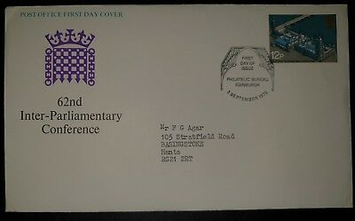 GB FDC 62nd Inter-Parliamentary Conference 3SEP1975 EDINBURGH (NoL946)*
